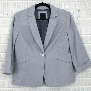THE LIMITED Size M Seersucker Striped Blazer Blue